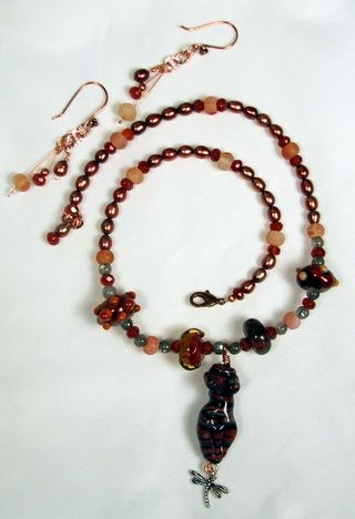 Banded torso necklace and earrings full