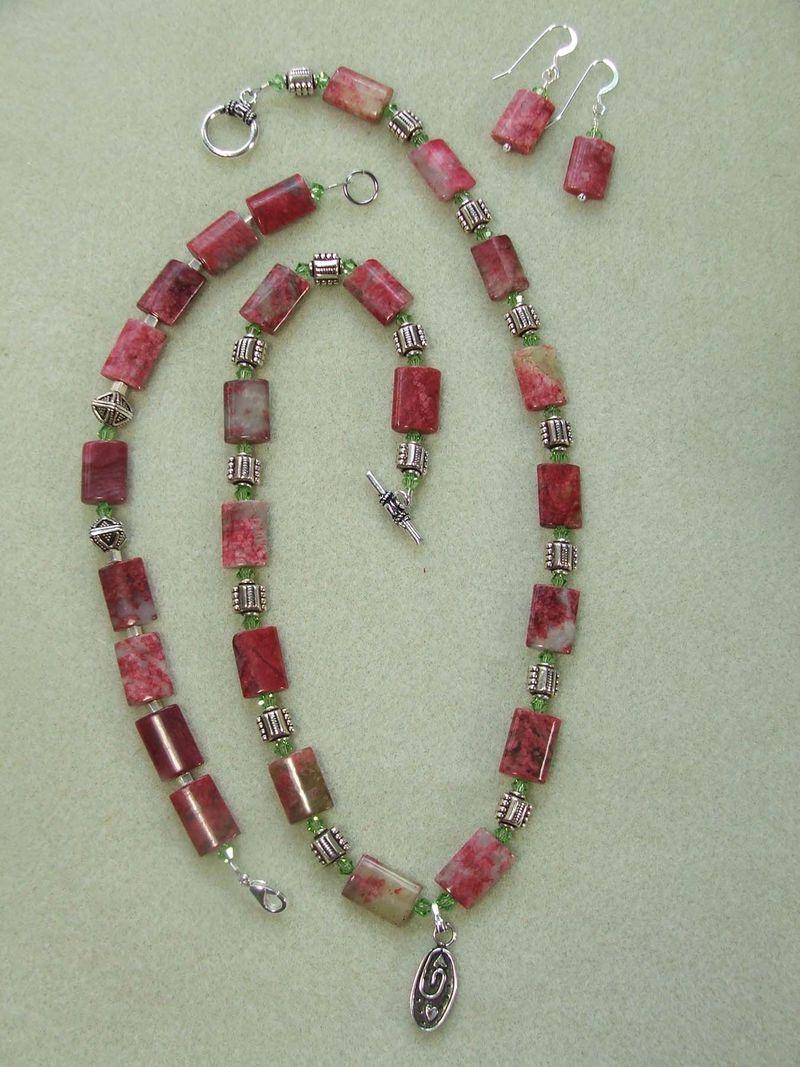 Cherry, sterling silver, swarovski  N$120, B $40, earring $20
