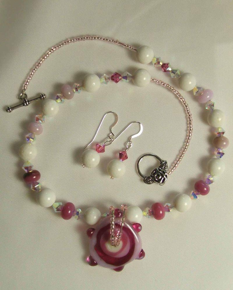 8.09 lampwork focal n beads pink.swarovski.seed $95 E $18